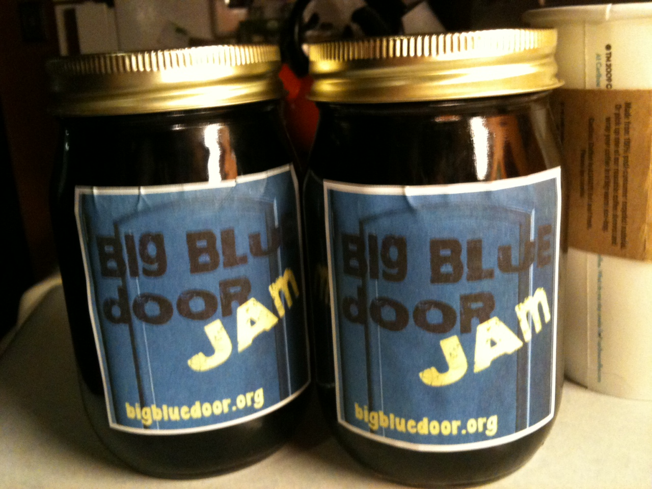 One of these two jars of Big Blue Door Jam jam will be given to one of our storytellers Thursday night at our Big Blue Door Jam at The Bridge ... & Our Big Blue Door Jam Jam | Big Blue Door