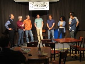 The Placeholders from left to right: Larry Goldstein, Kirk Martini, Erik Swanson, Nik Hayes, Max Hoecker, Maya Hislop, Brian Weisbrod, and Nauder Namaky