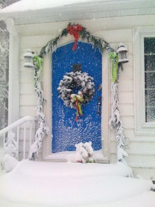 blue christmas door